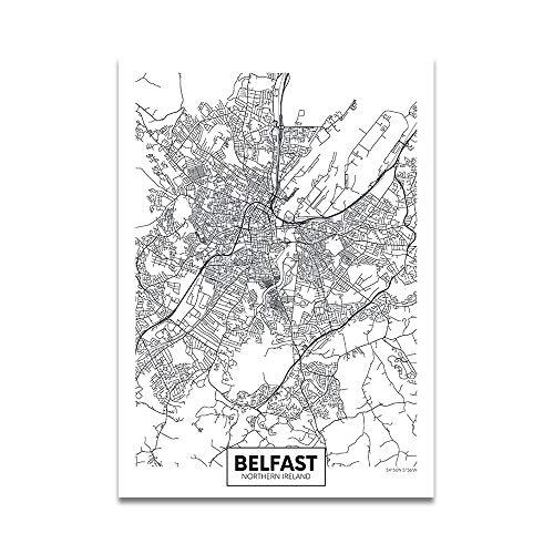 XWArtpic Einfache Poster Europa Hauptstadt Moderne Welt Stadtplan Paris London verkehrswege straße Druck Leinwand Malerei Wandkunst Wohnkultur 30 * 40 cm