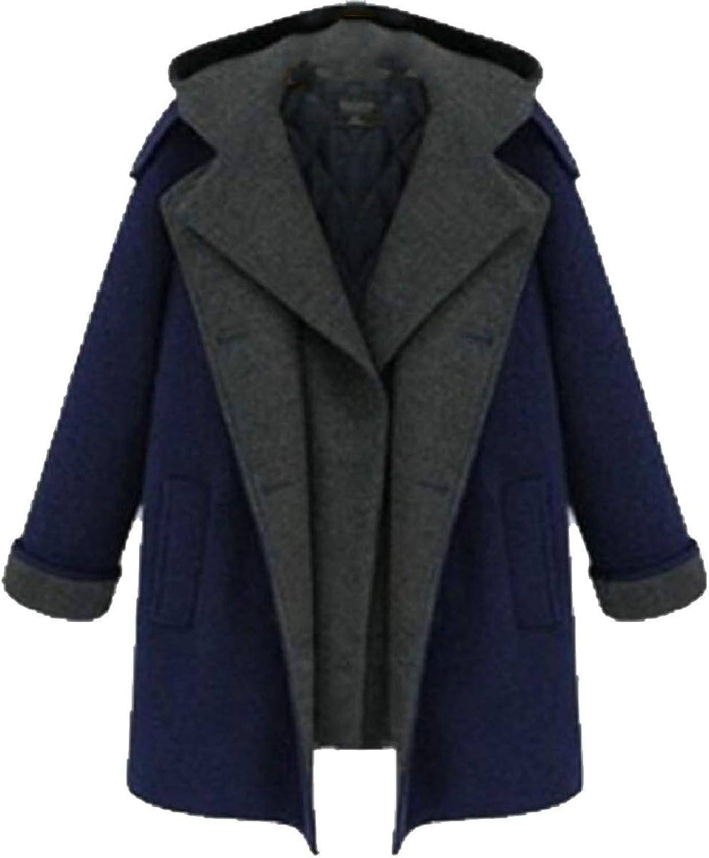 ZXFHZSCA Womens Winter Thicken Fake Two DoubleBreasted Long Woolen Coat