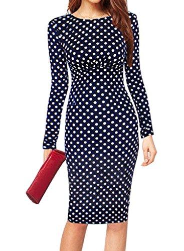 Minetom Mujeres De Los Lunares Vestido Manga Larga Vestido Fiesta Bodycon Vestido Cóctel con Cuello Redondo (ES 36, Azul Oscuro)