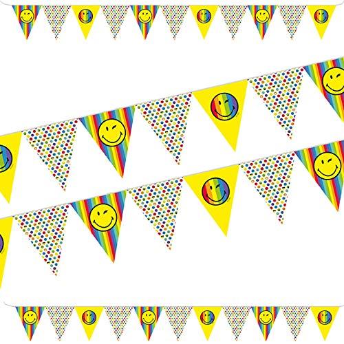 3,3m Wimpelkette * Smiley World 2 * aus Papier als Deko für Kindergeburtstag und Party   Girlande Banner Emojis Comic Smily Kinder Geburtstag