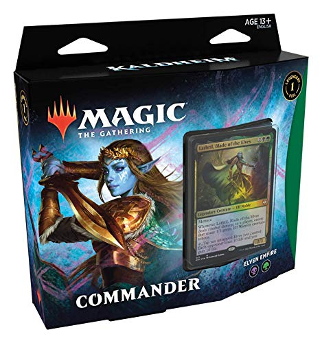 Magic The Gathering: Kaldheim| Commander Deck | Elven Empire | 99 cards | 1 Foil Commander | 10 Tokens Dupla Face | 1 Contador de Energia - Português