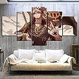 ARIE Mural Moderno 5 Piezas Personajes De Anime Trafalgar D Derecho De Agua Art Imagen para Decoración del Hogar 5 Piezas Pinturas Moderna Enmarcado Arte Navidad Obsequio