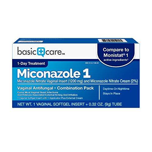 Amazon Basic Care Miconazole Nitrate Vaginal Insert (1200 mg) and Miconazole Nitrate Cream (2%) Combination Pack, Vaginal Yeast Infection, White, 0.32 Ounce (Pack of 1), 1 Count