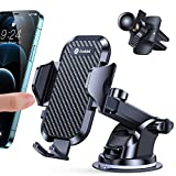 Andobil Car Phone Mount Easy Clamp, Ultimate Hands-Free Phone Holder for Car Dashboard Air Vent Windshield, Super Suction Compatible with iPhone 12 11 Pro Max 8 Plus SE X XR XS Samsung S21 S20 More