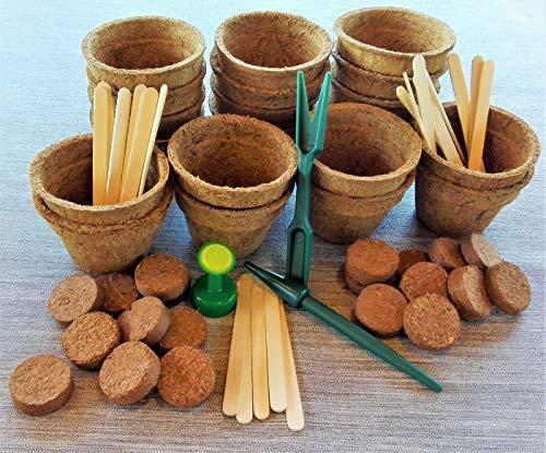 ANISTA- 20 Kokos Anzuchttöpfe inkl. Quelltabletten, Pflanzenstecker, Gießaufsatz und Pikierset. Ideal geeignet zur Pflanzenaufzucht