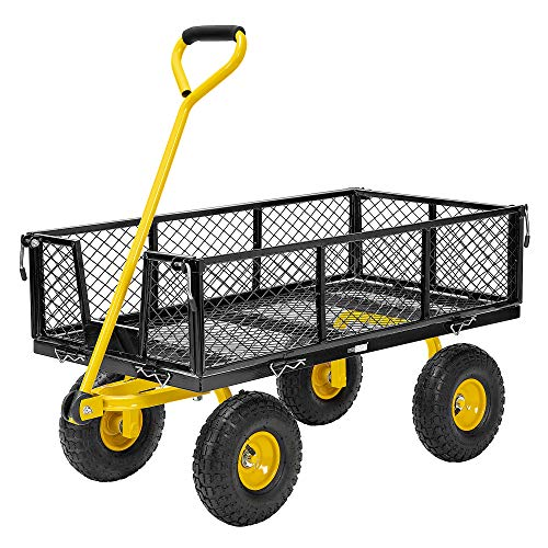 VIVOHOME Heavy Duty 1100 Lbs Capacity Mesh Steel Garden Cart Folding Utility Wagon with Removable Sides and 10 Inch Wheels (Black)