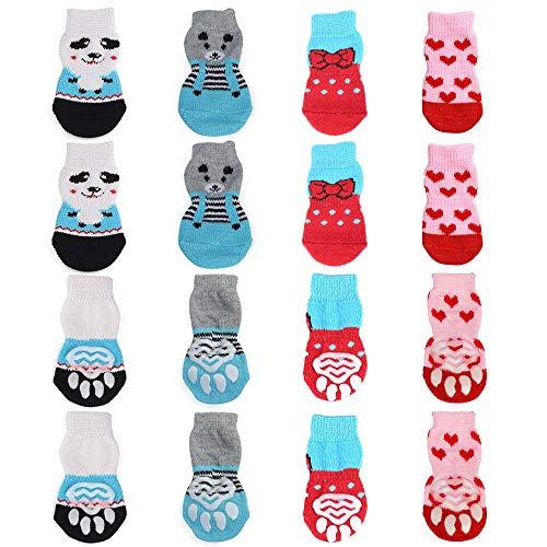 N/ A 4 Paar Indoor Anti-Rutsch Socken für Hunde und Katzen, Hundesocken & Katzensocken Pfoten-Schutz für kleine-riesige Tiere-Pfotenschutz und Traktion Dank Silikon-Gel(L