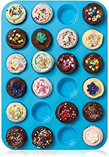 ミニマフィンパン24カップ、シリコンクッキーカップケーキ耐熱皿石鹸トレイ型ノンスティック、BPAフリー、食器洗い機対応