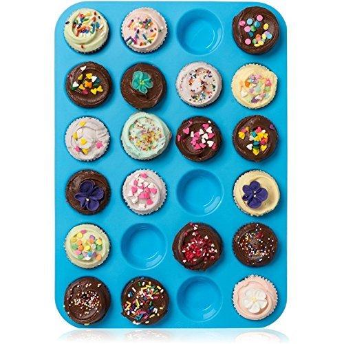 Muffinform 24er Mini Silikon Muffin Backform, Amison Antihaftbeschichtet Muffinform für Cupcakes, Brownies, Kuchen, Pudding, spülmaschinenfest, bpa-frei