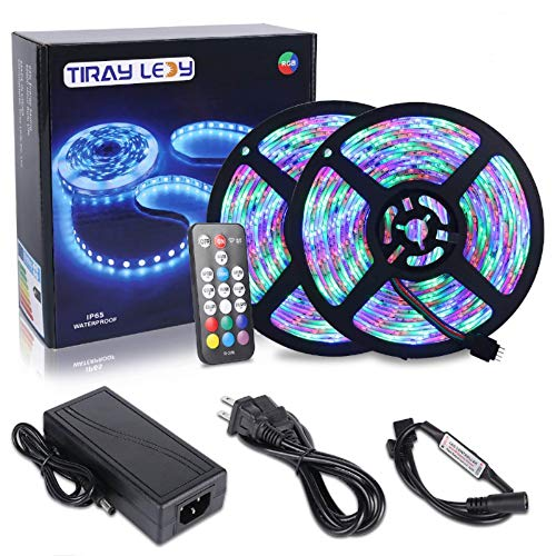 10M Tiras LED RGB 3528 600 Leds, IP65 Impermeable Multicolor Tira LED de Luces LED Kit Completo