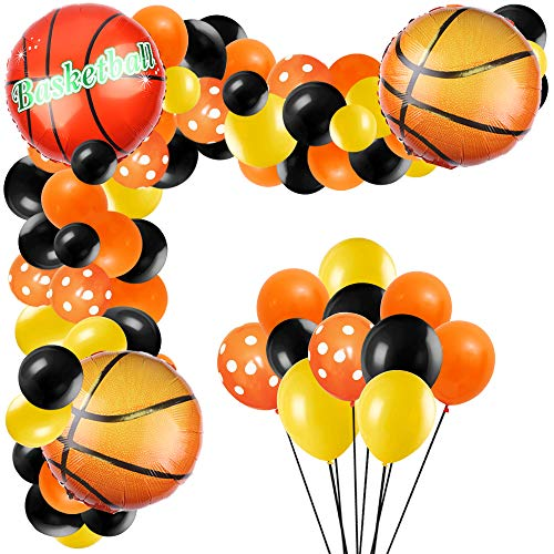 Basketball Balloons Garland Arch Set with Basketball Foil Balloons, Basketball Party Latex Balloons for Baby Shower Birthday Party Decorations (103pcs)