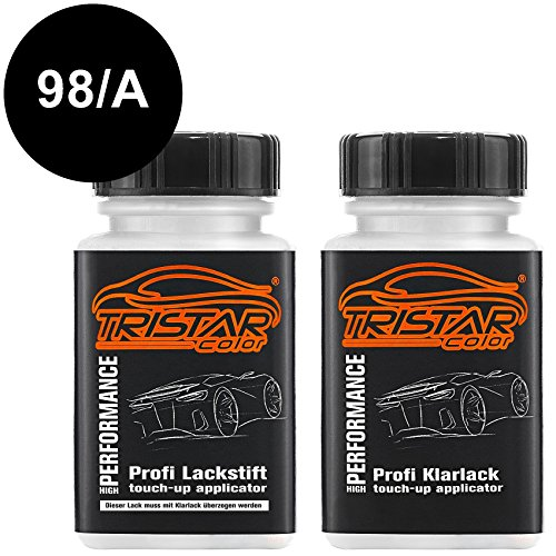 TRISTARcolor Motorradlack Lackstift Set für Piaggio Scooters 98/A Nero Competition Metallic Basislack Klarlack je 50ml