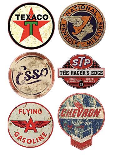 24/7stickers #501 / 6X Aufkleber Vintage Öl Breite je ca. 6,5 cm Oil Tuning Hotrod Retro Oldtimer STP Pennzoil Racing Rennsport Rallye V8 Ratte Rat Rod Oil Slick