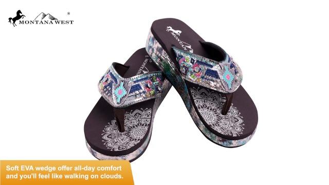 Montana West Wedge Flip Flops for Women Mandala Western Bling Bling Comfort Sandals