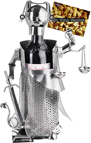 BRUBAKER Portabotellas de Vino Justitia Silver - Escultura de Metal Soporte de Botellas - Figura de Metal Regalo de Vino para Abogados, Bufete de Abogados - con Tarjeta de Felicitación