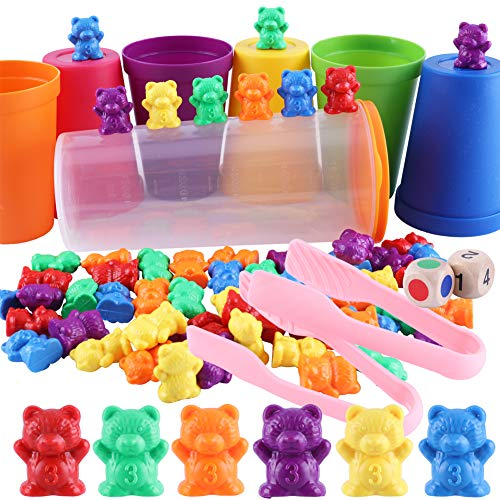 Osos Conteo Colores, 70 Piezas Juguete Montessori Ositos, con Pinzas, Dados Tazas Clasificación a Juego, Juegos Habilidades Conteo Arco Iris, Juguetes Clasificación Colores para Bebés Pequeños