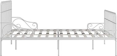 FAMIROSA Cadre de Lit et Sommier à Lattes Blanc Métal 200 x 200cm 4607