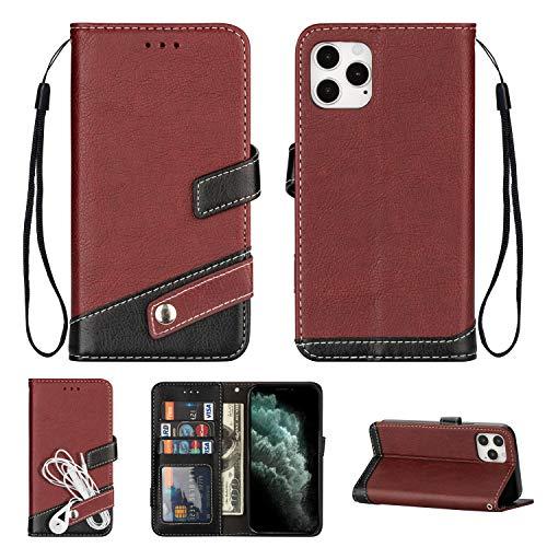 Preisvergleich Produktbild Snow Color iPhone 12 Pro Max Hülle,  Premium Leder Tasche Flip Wallet Case [Standfunktion] [Kartenfächern] PU-Leder Schutzhülle Brieftasche Handyhülle für Apple iPhone 12 Pro Max - COCSJ050073 Braun
