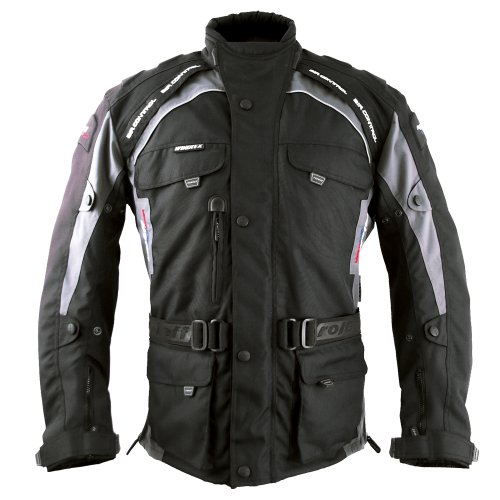 Roleff Racewear Liverpool Motorradjacke, Schwarz/Grau, Größe XXL
