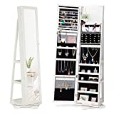 360 Rotating Jewelry Stand Organizer - Jewelry Armoire with Full-Length Mirror- Freestanding Dressing Mirror Jewelry Cabinet Storage - WHITE