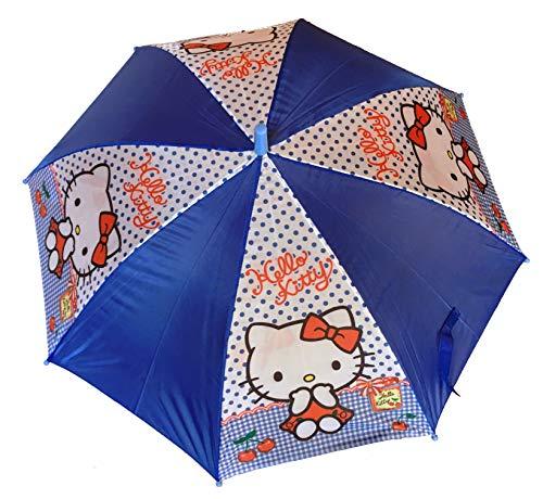 Hello Kitty Kinder Regenschirm, halbautomatisch, 48 cm, Blau