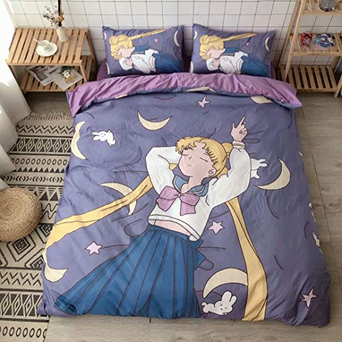 BLUU Cartoon Sailor Moon Kids Duvet Cover Bed Set for Girls 4 Peices Soft Anime Bedding Sheet Set with Pillowcases Queen