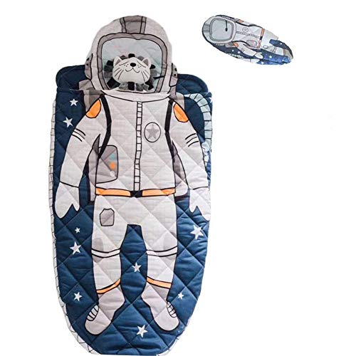 Eanpet Sleeping Bag Kids Toddler Nursery Cotton Quilted Slumber Bag Blue Nap Mat Sleep Blanket Soft Warm Boy Spaceman Printed Sleeping Sack Travel Sleepovers Astronauts with Pillow