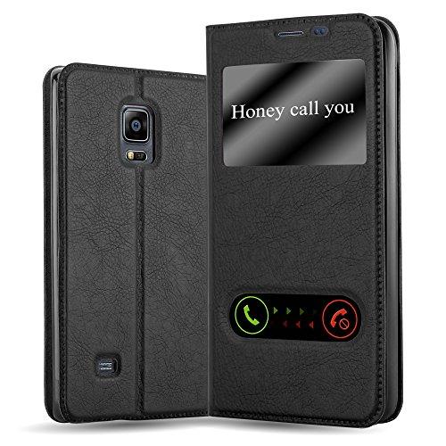 Cadorabo Hülle für Samsung Galaxy Note Edge in KOMETEN SCHWARZ – Handyhülle mit Magnetverschluss, Standfunktion & 2 Sichtfenstern – Hülle Cover Schutzhülle Etui Tasche Book Klapp Style