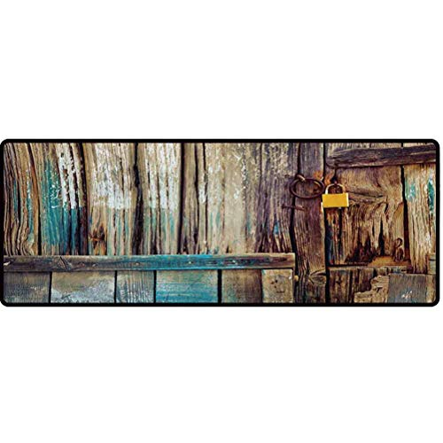 Rustic Kitchen Mats, Aged Shed Door Backdrop with Color Details Country Living Exterior Pastoral Mansion Image Floor Mat - Brown, 20' x 59'