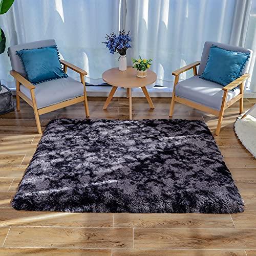 HEXIN Alfombra de Terciopelo,Alfombra de área Peluda Suave Alfombras mullidas de Interior Modernas, cómodas alfombras de Sala de Estar, Alfombra de Dormitorio(Gris-Oscuro, 120x160cm)