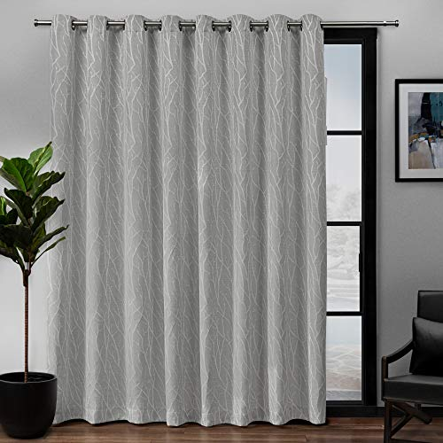 Exclusive Home Curtains EH8309-02 1-84G Forest Hill Woven Blackout Grommet Top Single Curtain Panel, 108X84, Dove Grey