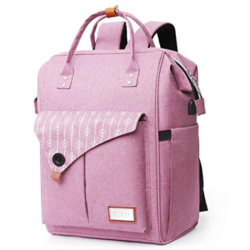 Rucksack Damen, Laptop Rucksack für 15.6 Zoll Laptop Schulrucksack mit USB Ladeanschluss für Arbeit Wandern Reisen Camping, für Mädchen, Oxford, 20-35L (H11-Pink)