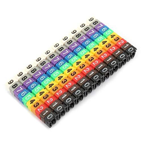 Cable de tubo digital 0-9 Número de etiqueta de cable de plástico codificado Tubo de colores Marcador de cable Clip en el número de cable de tubo para cables de fijación, etc.(100Pcs 2.5mm²)