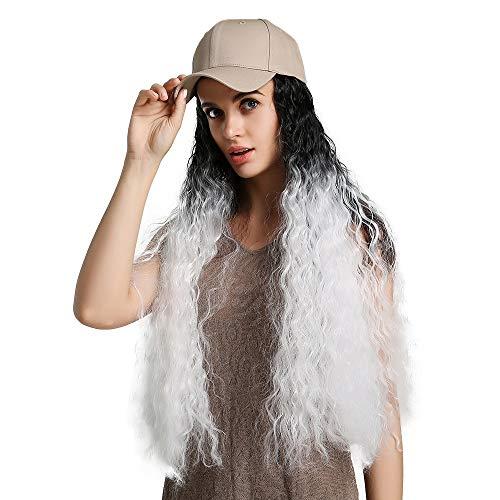 Sexy Lady Volledige Pruiken met verwisselbare Mutsen Zwart Wit 26 inch wave haar synthetische pruik met baseballcap Daily Dress for Women