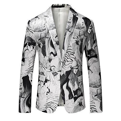 SZRXKJ Männer Slim Fit One-Button-Anzug Jacken Wasser Tinte Malerei Casual Dress Party Anzug Jacken