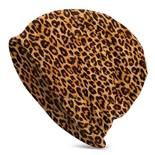 Gorro de Punto para Adultos de Piel de Animal con Estampado de Leopardo, Gorro Suave Holgado, Gorro de Skully, Gorros de Cobertura de Medio pasamontañas