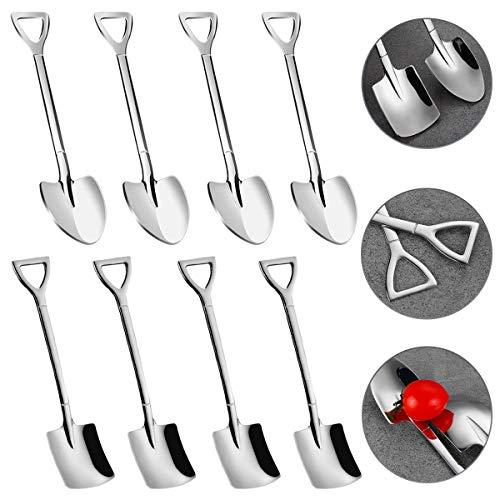 Cuchara de pala de acero inoxidable, cuchara roja de pala creativa en forma de pala, cuchara de sandía, leche, té, café, azúcar, cuchara, helado, postre, cuchara