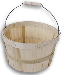 Round Wooden 3/4 Peck Basket Garden, Farm, Fruit, Vegetable Picking Country Basket with Wire Bail/Wood Handle - 11'' Diameter and 7'' Tall