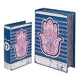 Set de 2 Cajas Libro Multicolores Decorativas Orientales de Madera 'Mano de Fátima'. Joyeros. Cajas Multiusos. Regalos Originales. Animales. Decoración Hogar. 27 x 18 x 7 cm