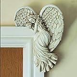 Angel Wings Sculpture Door Ornaments, Angel Door Frame Modern Home Decor, 3D Angel Statue for Door Wall Art, for Outdoor Garden Living Room Corridor Bedroom Terrace Office Door Decor-Right