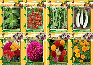 Seedsown menta, tomate cereza, Serpiente calabaza, berenjena larga blanca, Cresta de gallo, púrpura del Zinnia, Zinnia mixto y caléndula africana mixta Semilla