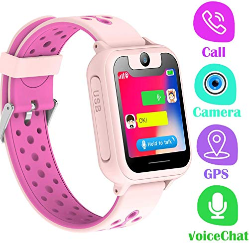 LDB Kinder Smartwatch, Smart Watch Phone LBS Tracker Mikro Chat Anruf SOS Kamera Taschenlampe Digitales Spiel Touchscreen SmartWatches, Smart Watch Geschenk für Kinder von 3 bis 12 Jahren