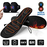 Gimilife Heated Insoles with Power Display,Heated Foot Warmer Insole for Man Woman with Rechargeable Battery Powered,Adjustable Temperature Electric Pads on Skiing Hunting Hiking Camping S