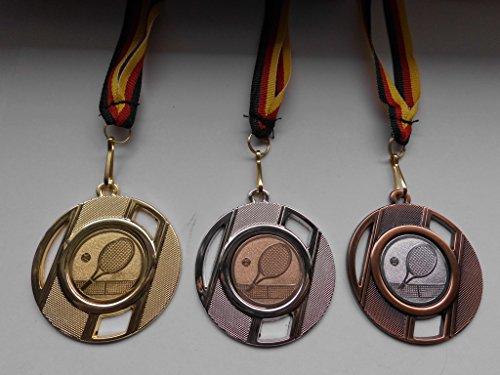 Fanshop Lünen Medaillen Set - aus Metall 50mm - Gold, Silber, Bronze - Tennis - Damen - Herren - Medaillenset - mit Emblem 25mm - Gold, Silber, Bronce - mit Medaillen-Band - (e257) -