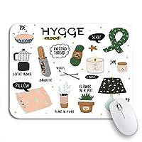 NINEHASA 可愛いマウスパッド 居心地の良いかわいい秋と冬Hyggeやる気を起こさせるスカンジナビアノンスリップゴムバッキングコンピューターマウスパッドノートブックマウスマット
