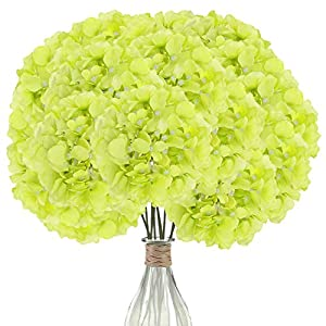 Elfii 10 Pack Silk Hydrangea Heads Artificial Flowers Heads for Home Wedding Decor