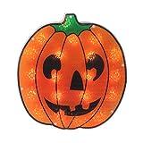 "Northlight 13"" Orange and Black Lighted Jack O' Lantern Pumpkin Halloween Window Silhouette Decoration"