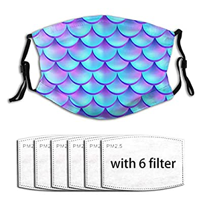 Mermaid Tail Fish Scales Reusable Activated Carbon Filter Face Shield With 6 Filter Replaceable for Men Women