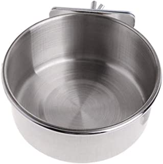 DAWEIF Stainless Steel Pet Supplies Cup Parrot Bird Coop Cup Feeder Water Bowl Cage Accessories(M)