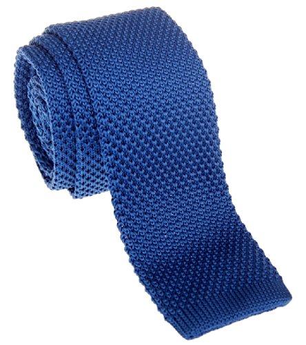 Retreez Cravate vintage tricotée élégante style décontracté Homme 5 cm fine - Bleu